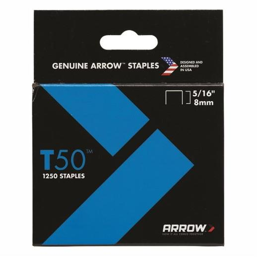 "Arrow T50 Staples; 8mm (5/16""); Pack (1250)"