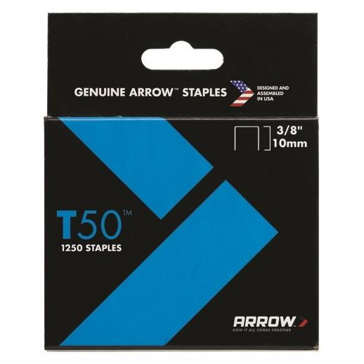 "Arrow T50 Staples; 10mm (3/8""); Pack (1250)"