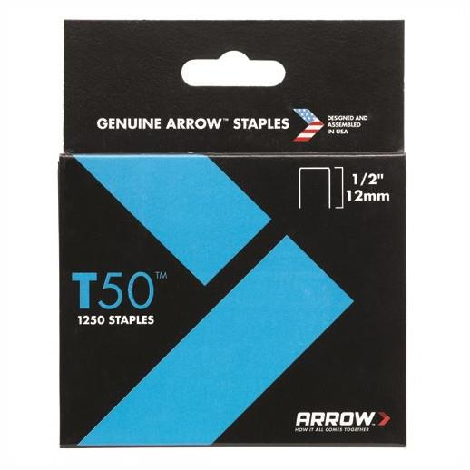 "Arrow T50 Staples; 12mm (1/2""); Pack (1250)"