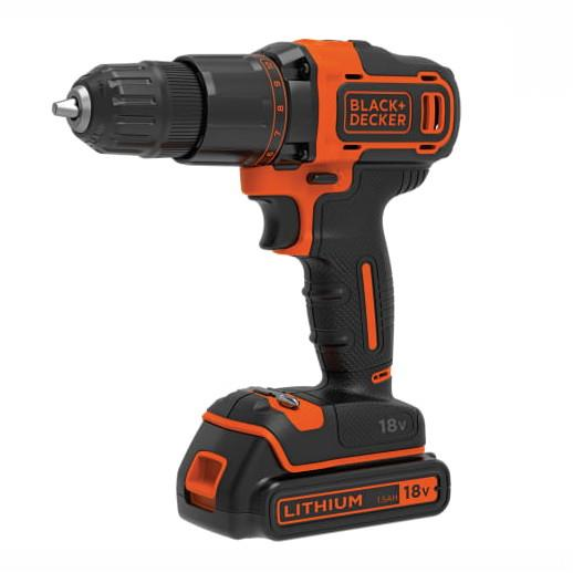 Black And Decker BCD700S1K 18 Volt Combi Drill; Complete With 1 x 1.5 Ah Battery; Charger And Case