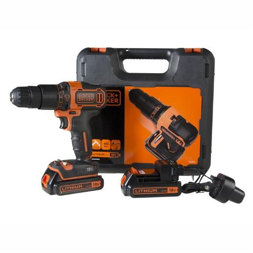 Black And Decker CHD18KB 18 Volt Combi Drill; Complete With 2 x 1.5 Ah Batteries; Charger And Case