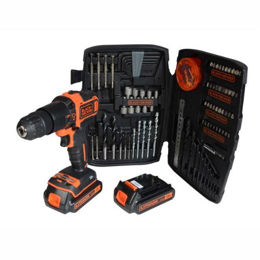 Black And Decker D700S1KTB 18 Volt Combi Drill; Complete With 2 x 1.5 Ah Batteries; Charger And Case; Added Value 150 Piece Accessory Set