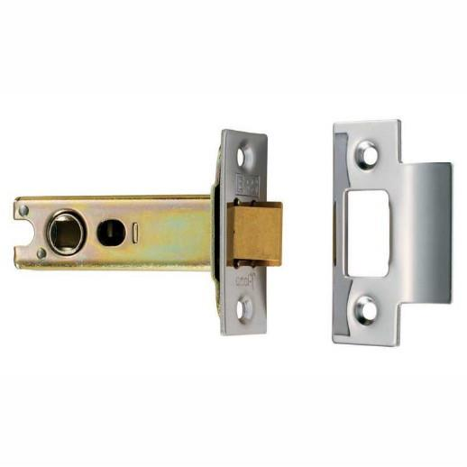 "Carlisle TLS5025 Bolt ThroughTubular Mortice Latch; Heavy Duty Double Sprung; 64mm (2 1/2""); 44mm (1 3/4"") Backset; Electro Brassed/Satin Stainless (EB)(SSS)"