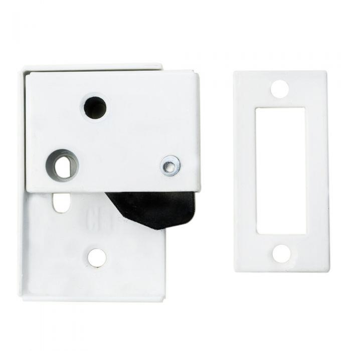 Carlisle AA46 Easi-Keep Hush Latch; 63 x 48mm; Powder Coated White (WH)