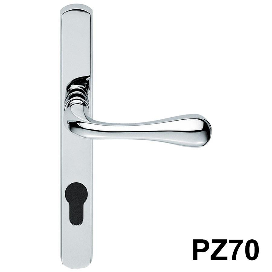 Carlisle AQ1NP-CP Stella PVCu Door Handle Set; Unsprung Lever/Lever; 70mm Centres; 208 x 26mm Backplate; 2 Hole Fix; 180mm Screw Centres; Polished Chrome Plated (CP)