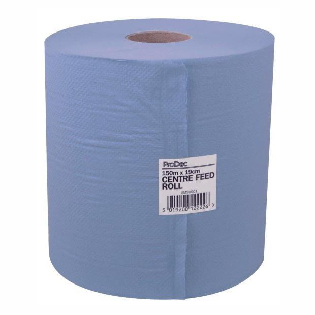 Paper Wipes; 2 Ply; Blue (BL); Centre Feed; 375 Sheets; 190mm x 400mm; 150 Metre Roll