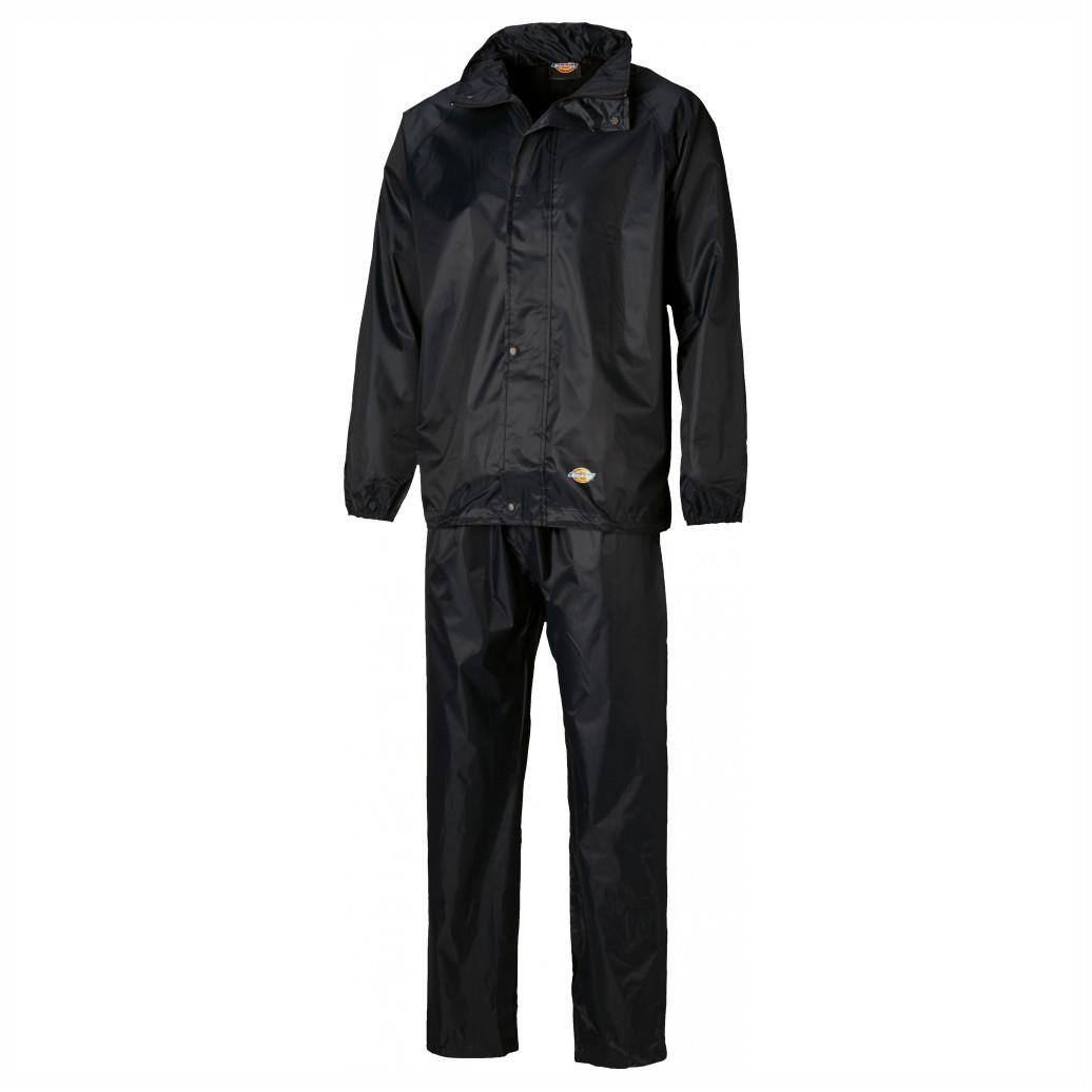 Dickies WP10050 Vermont Jacket & Trousers Suit; 100% Polyester PVC Waterproof Fabric With Taped Seams; Black (BK); Small (S)