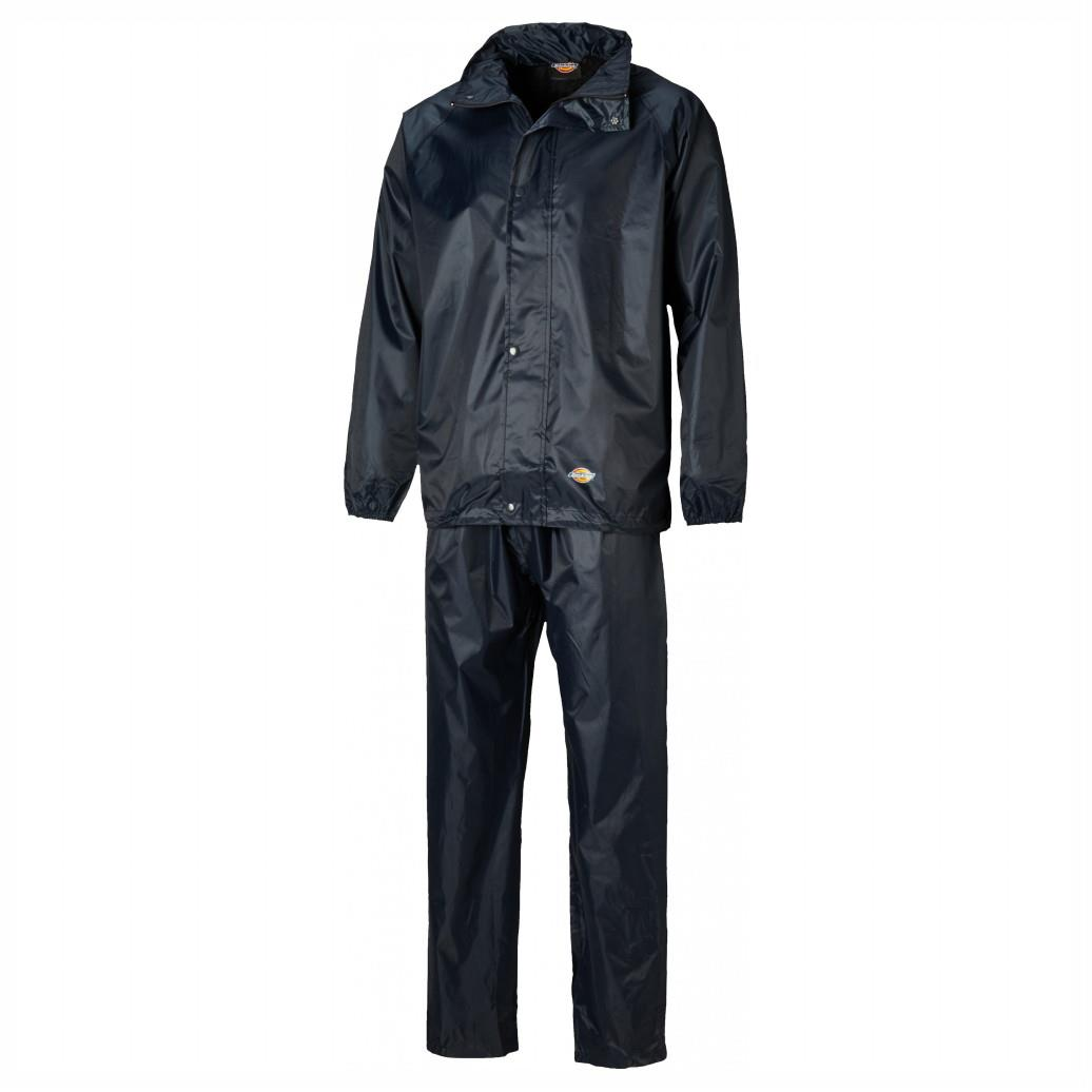 Dickies WP10050 Vermont Jacket & Trousers Suit; 100% Polyester PVC Waterproof Fabric With Taped Seams; Navy (NY); Extra Large (XL)