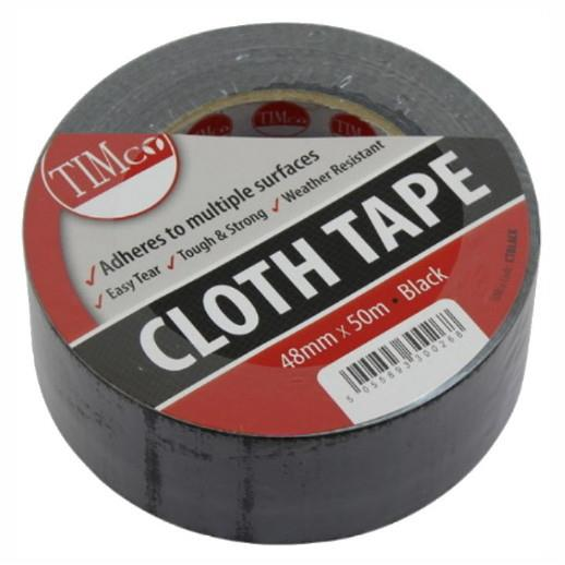 Timco All Purpose Cloth Duct Tape; Black (BK); 50mm x 50m