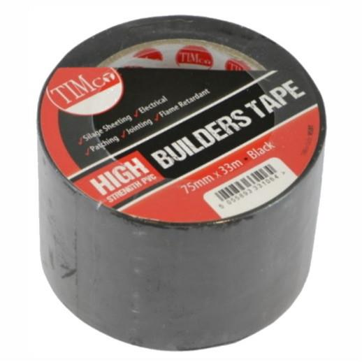 Timco High Strength Builders Tape; Black (BK); 75mm x 33m