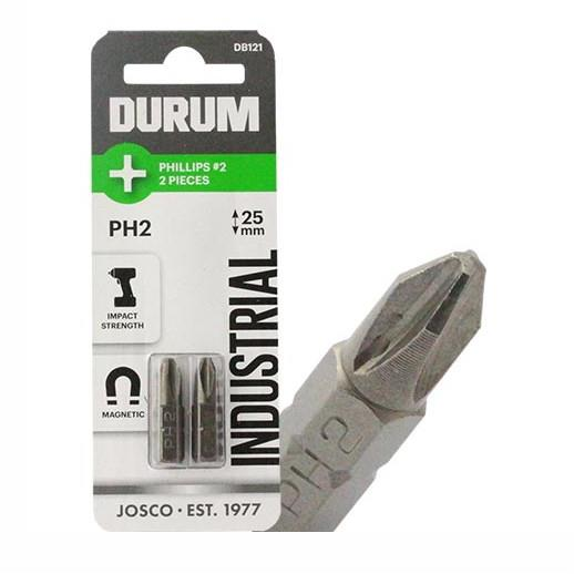 "Durum DB121 Industrial Magnetic Impact Screwdriver Bits; 1/4"" Hex; Phillips; PH2 x 25mm; Pack (2)"