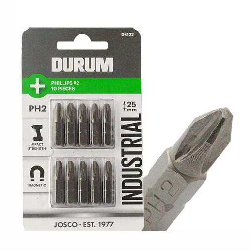"Durum DB122 Industrial Magnetic Impact Screwdriver Bits; 1/4"" Hex; Phillips; PH2 x 25mm; Pack (10)"