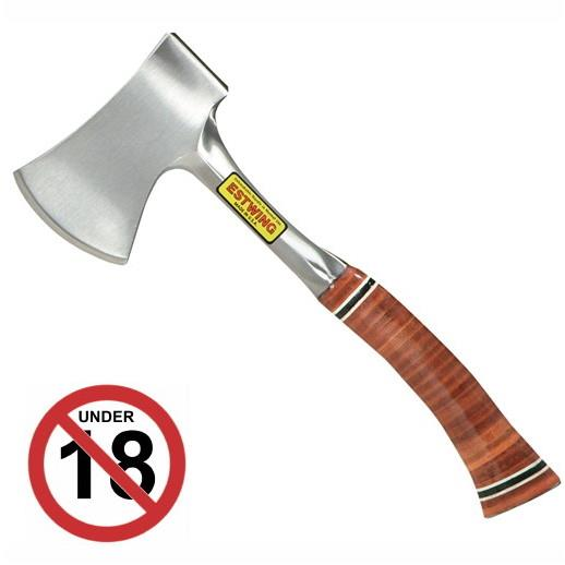 "Estwing E14A Sportsmans Axe; Leather Grip; 12"" (300mm); 2 3/4"" (69mm) Blade"