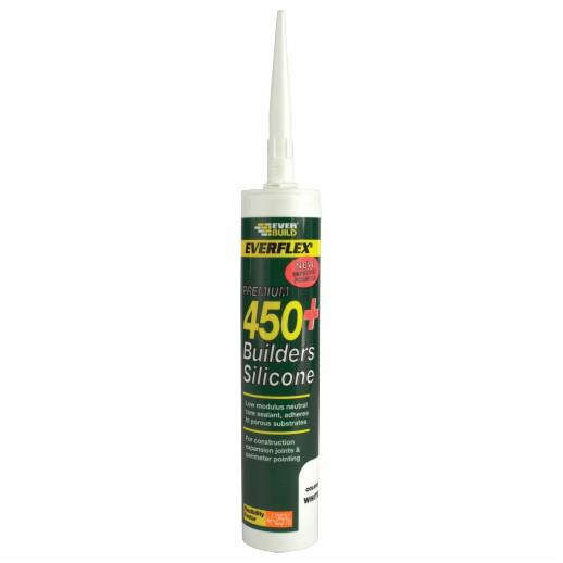 Everbuild 450 Builders Silicone Sealant; Low Modulus Neutral Cure; White (WH); C3