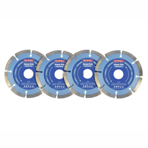 Faithfull DBSET4C Diamond Blade Set; 4 Piece Disc Pack; 115mm
