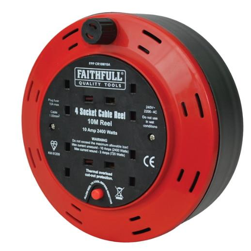 Faithfull CR10M10A Cable Reel Extension Lead; 4 Socket; 10 Amp; 240 Volt; 10 Metre