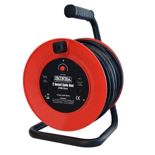 Faithfull CR20M Cable Reel Extension Lead; Heavy Duty; Double Socket; 13 Amp; 20 Metre
