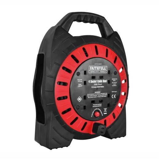 Faithfull FPPCR20MSE Semi Enclosed Cable Reel; 20 Metre; 13 Amp; 4 Sockets; 240 Volt