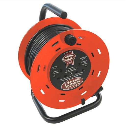 Faithfull FPPCR50M Heavy Duty Cable Reel Extension Lead; Double Socket; 13 Amp; 240 Volt; 50 Metre