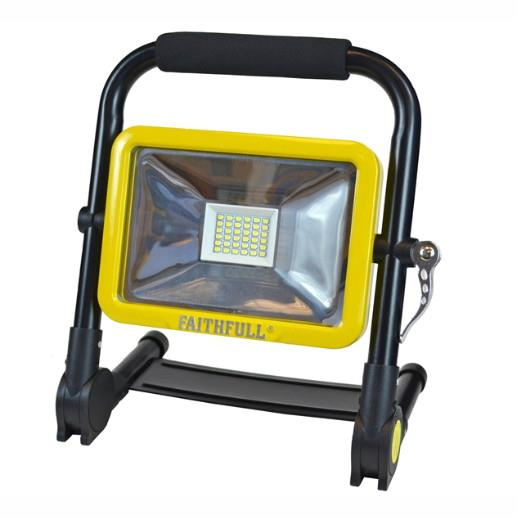 Faithfull FPPSLFOLD20W Folding Re-Chargeable SMD LED Work Light; 1800 Lumen; 20 Watt; 240 Volt; IP 44