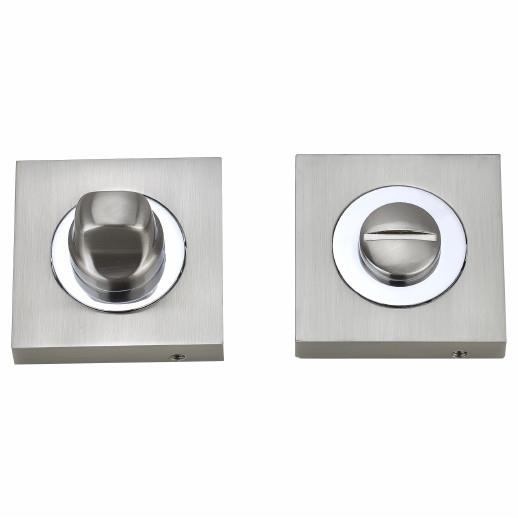 Fortessa FWCSTT-SN/CP Square Thumb Turn And Release; Satin Nickel Plated/Polished Chrome Plated (SNP)(CP) Mixed Finish