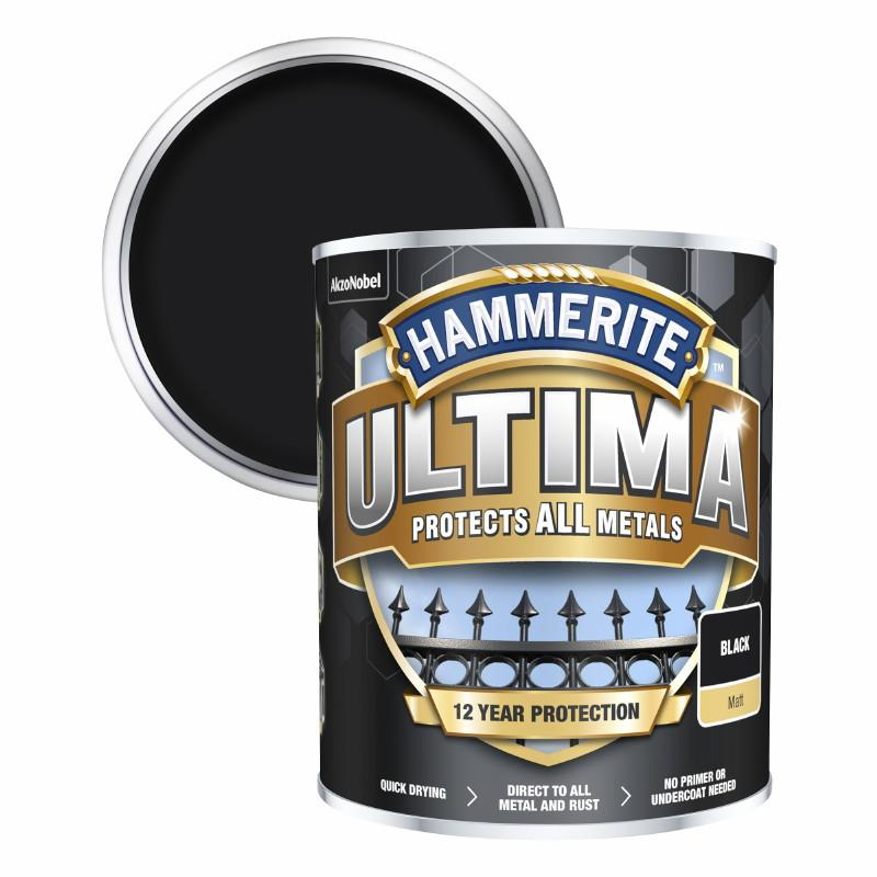 Hammerite Ultima Metal Paint Matt; Black (BK); 750ml