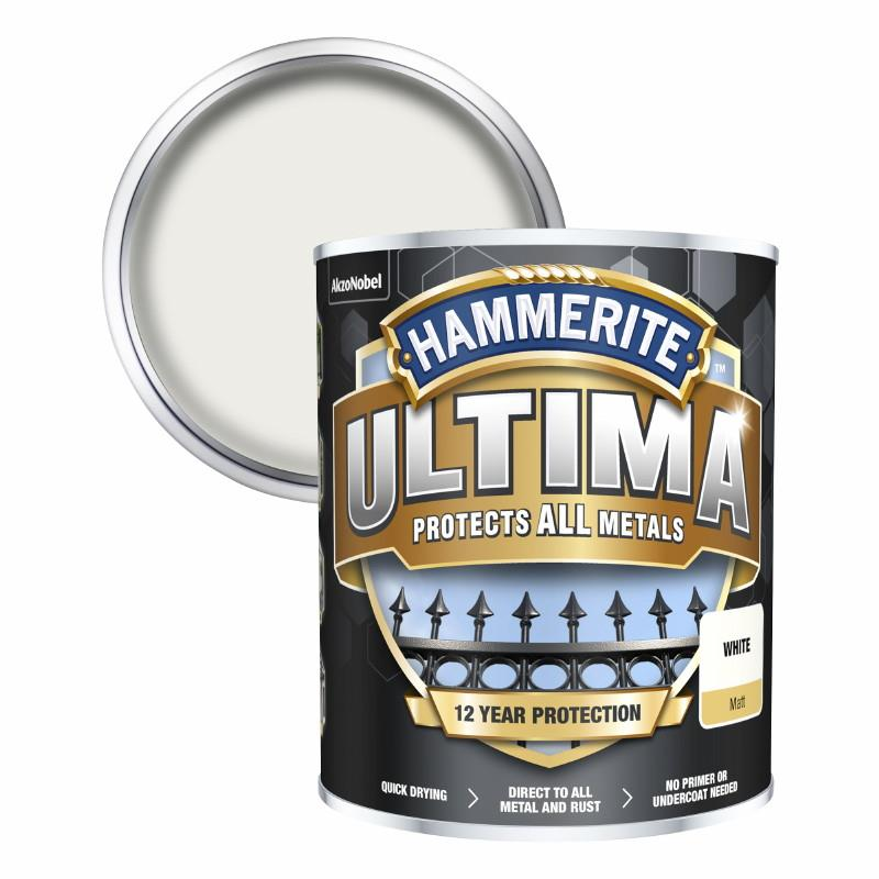 Hammerite Ultima Metal Paint Matt; White (WH); 750ml