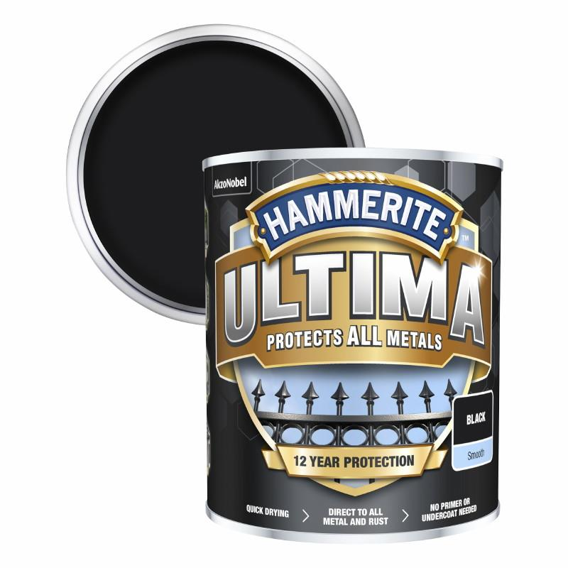 Hammerite Ultima Metal Paint Smooth; Black (BK); 750ml