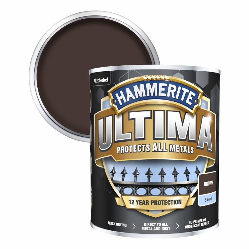 Hammerite Ultima Metal Paint Smooth; Brown (BN); 750ml