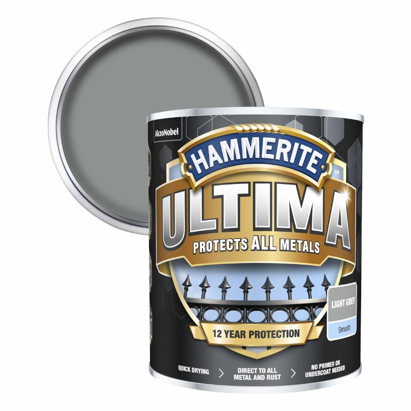 Hammerite Ultima Metal Paint Smooth; Light Grey (LGR); 750ml