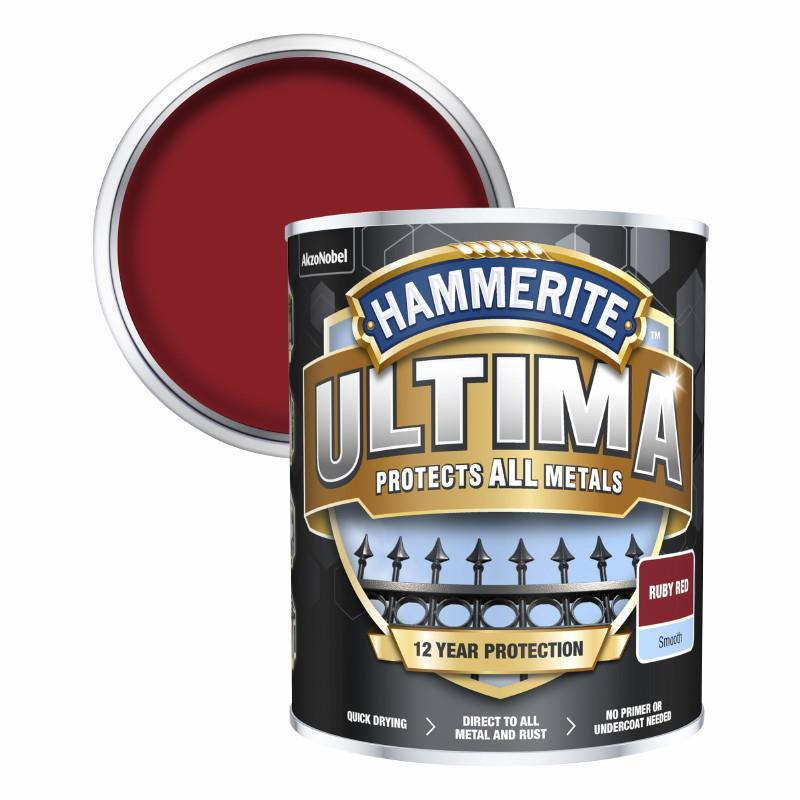 Hammerite Ultima Metal Paint Smooth; Ruby Red (RD); 750ml