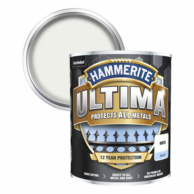 Hammerite Ultima Metal Paint Smooth; White (WH); 750ml