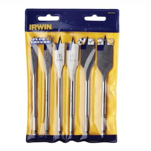 Irwin 10502826 Blue Groove 4X Flat Wood Bit Set; 6 Piece; 10; 13; 16; 19; 22 And 25mm; Plastic Wallet