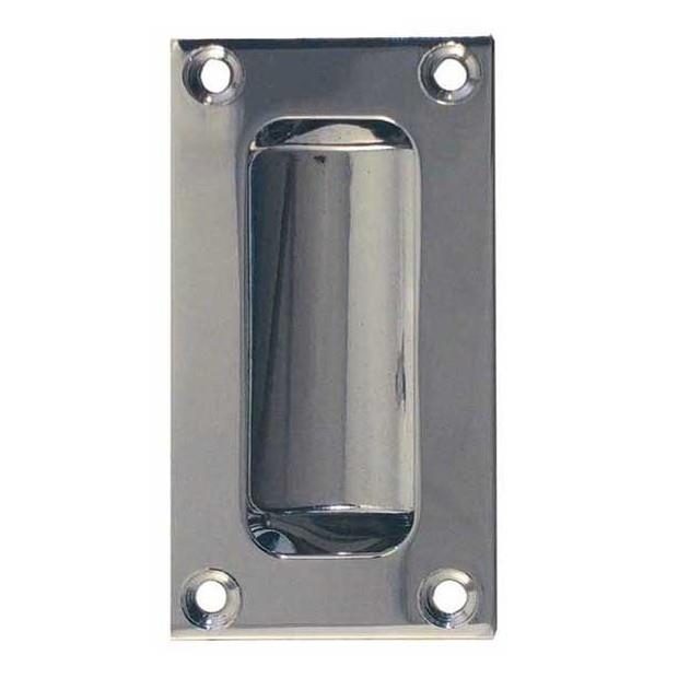 Jedo JV428PC Double Pressed Flush Pull; 11mm Deep; Polished Chrome Plated (CP); 75 x 40mm
