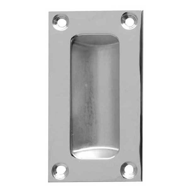 Jedo JV428SC Double Pressed Flush Pull; 11mm Deep; Satin Chrome Plated (SCP); 75 x 40mm