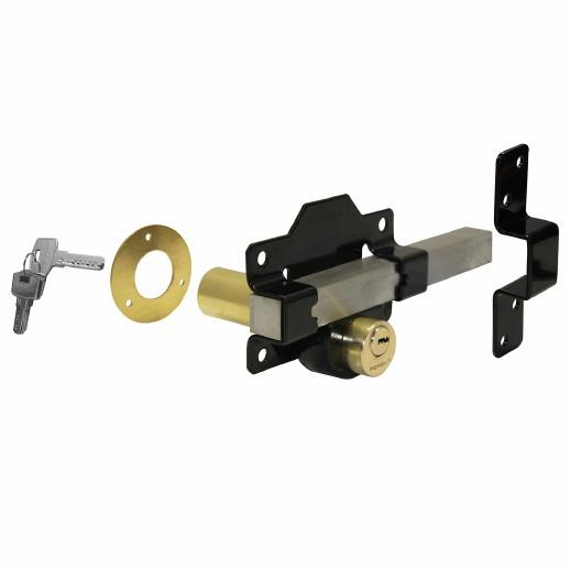 1127 Double Locking Long Throw Rimlock Bolt; 70mm Door; Brass Cylinders; Stainless Steel Bolt; Black (BK)