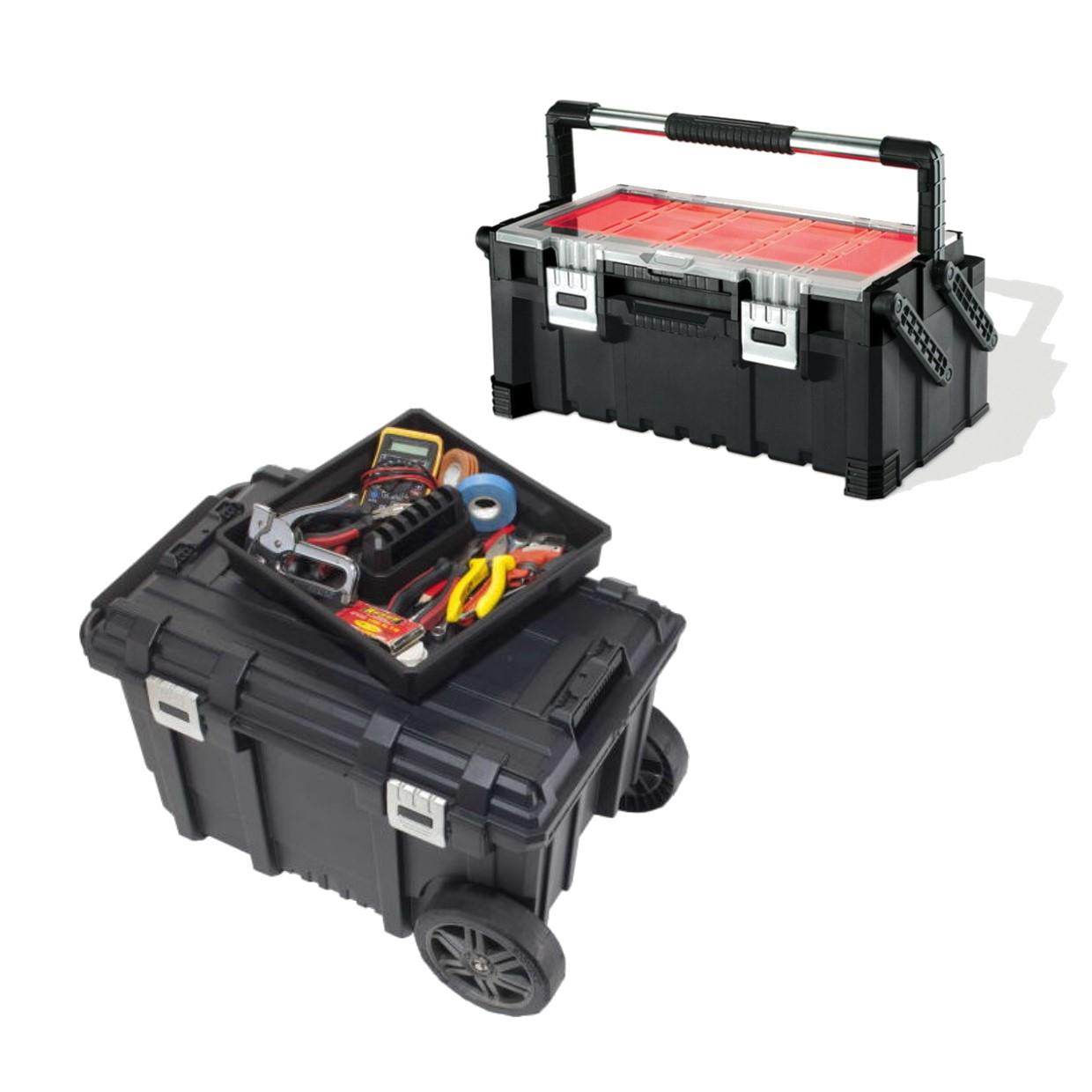 Keter Roc JOBBOX & PROCANT Kit; Consisting Of 57 Litre Wheeled Job Box Plus Connect Pro Cantilever Tool Box