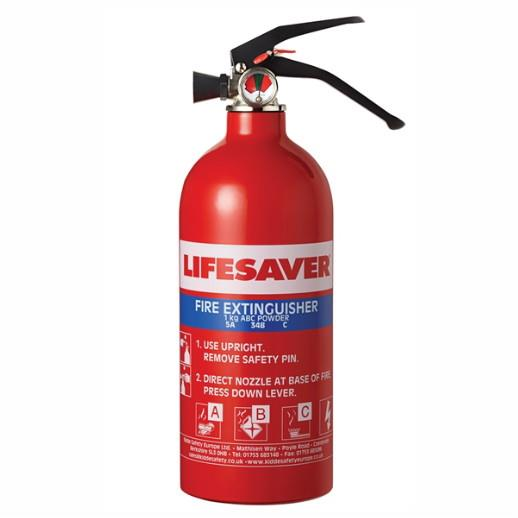 Kidde KIDLS1KG Lifesaver Multi-Purpose Fire Extinguisher Multi Purpose; 1.0kg; For Use With A, B or C category Fires, A: Wood; Paper B: Flammable Liquids; Petrol; C: Gaseous Fires.
