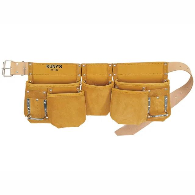 Kuny's AP-630 Journeyman Carpenters Apron; Full Grain Leather; Heavy Leather Belt 5 Reversed Nail Pockets (2 Large & 3 Small)