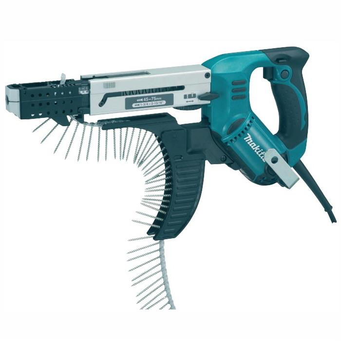 Makita 6844 Autofeed Screwdriver; Complete With Carry Case And 1 x Phillips & 2 Square Head Bits; Screw Range 45 - 75mm; 240 Volt