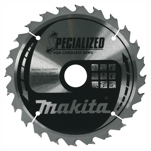Makita B-09248 Specialized Circular Saw Blade For Cordless Machines; 1.6mm Kerf; 165mm x 40 Teeth; 20mm Bore