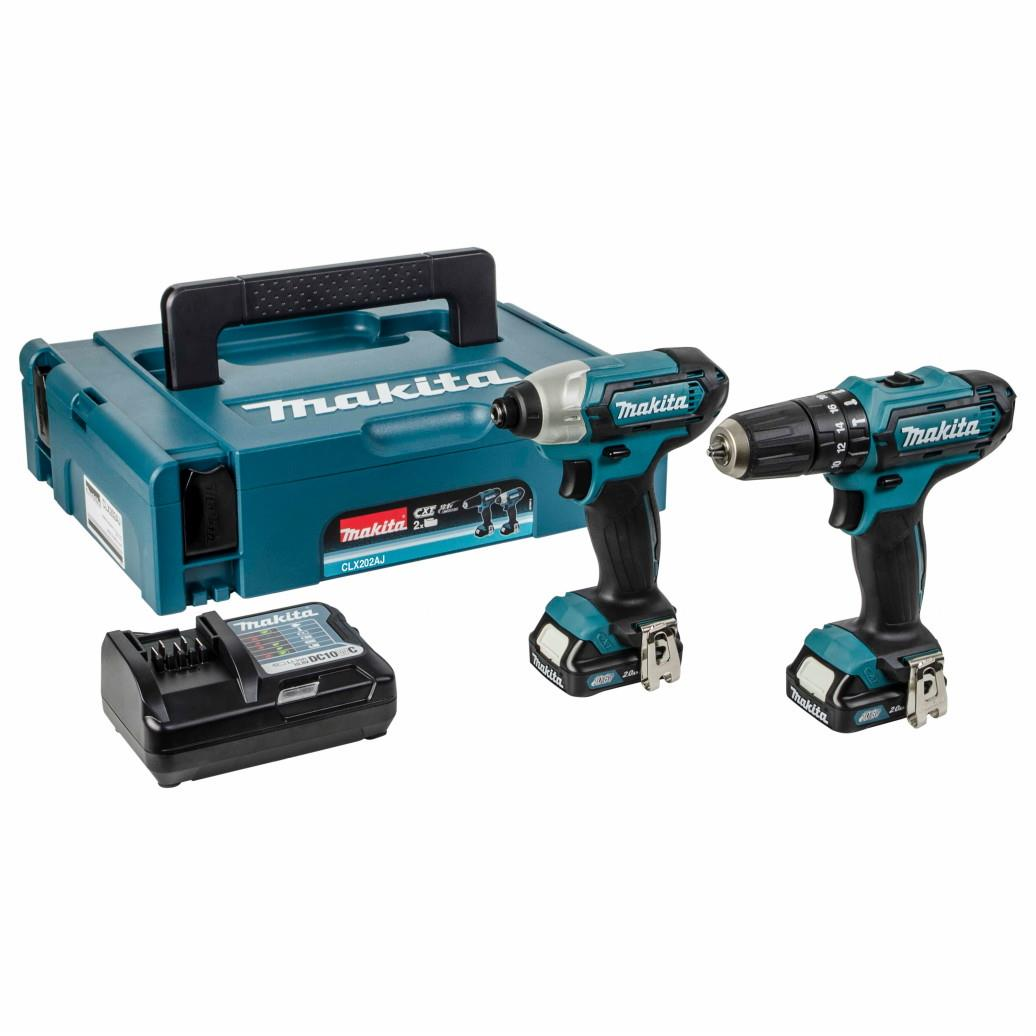 Makita CLX202AJ 2Pce 10.8/12 Volt CXT Kit; Includes Drill Driver (HP331D) and Impact Driver (TD110D); Complete With 2 x 2.0Ah Li-Ion Batteries; Charger; Type 1 Makpac Case