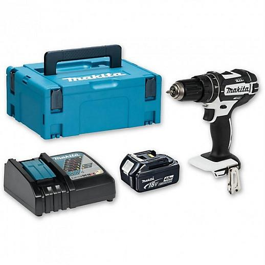 Makita DHP482RM1JW Combination Drill; 2 Speed; 18 Volt; Compact Body; Complete With 1 x 4.0Ah Battery; Charger & Case; White (WH)