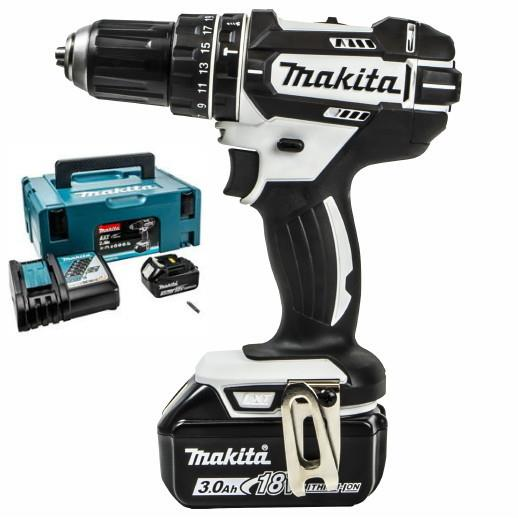 Makita DHP482RFWJ Combination Drill; 2 Speed; 18 Volt; Compact Body; Complete With 2 x 3.0Ah Batteries; Charger & Case; White (WH)