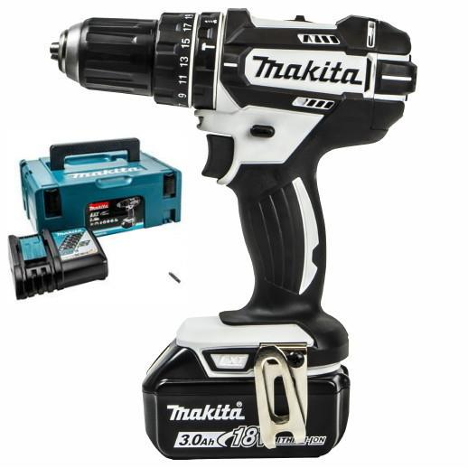 Makita DHP482RFWJ1 Combination Drill; 2 Speed; 18 Volt; Compact Body; Complete With 1 x 3.0Ah Battery; Charger & Case; White (WH)