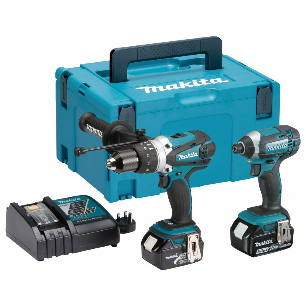 Makita DLX2145TJ 2 Piece 18 Volt LXT Kit; Includes Combi Drill (DHP458) & Impact Driver (DTD152); Complete With 2 x 5.0Ah Li-Ion Batteries; Charger And Makpac Case
