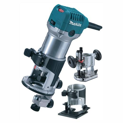"Makita RT0700CX2 1/4"" Router/Trimmer; Trimmer Base As Standard; Includes Tilt And Plunge Base Attachments; Carry Bag; 240 Volt"