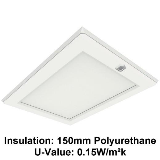 Manthorpe GL250-015-PU Plastic Drop Down Loft Hatch & Surround; Multi Point Catch; White (WH); Fits 553 - 562 x 726mm Opening; 545 x 715mm Clear Access; 150mm Polyurethane (UV 0.15)