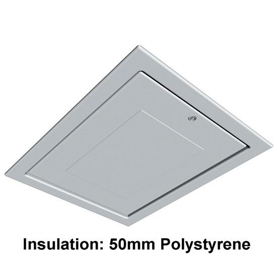 Manthorpe GL250-03 Pre-Build Regulation; Plastic Drop Down Loft Hatch & Surround; Multi Point Catch; White (WH); Fits 553 - 562 x 726mm Opening; 545 x 715mm Clear Access; 50mm Polystyrene