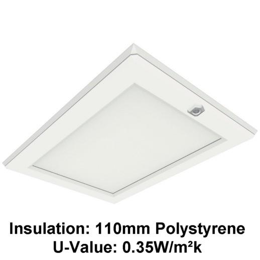 Manthorpe GL250-035-EPS Plastic Drop Down Loft Hatch & Surround; Multi Point Catch; White (WH), Fits 553 - 562 x 726mm Opening 545 x 715mm Clear Access, 110mm Expanded Polystyrene (UV 0.35)